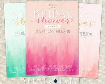 "OMBRE Watercolor Printable BRIDAL Shower Invitation- 5""x7"" - Customize your Colors"