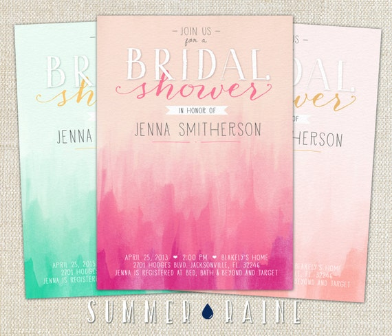 OMBRE Watercolor Printable BRIDAL Shower Invitation