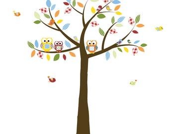 Vinyl Wall Art, Nursery Wall Decals, Patterned Trees, Boys Nursery Art, Birds and Owls, Vinyl Decals