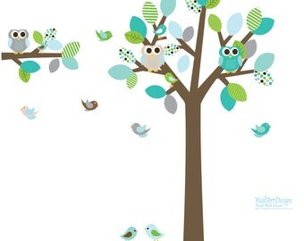Modern Tree Decal Nursery Wall Stickers Colorful Tree Owl Wall Decal