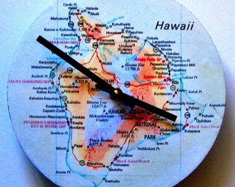 Wall clock made from map of Hawaii