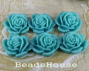 20% OFF - 6pcs Beautiful Rose Cabochons - Turquoise