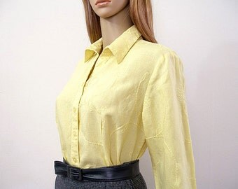 Vintage 1980s Yellow Blouse Embroidered Linen Designer Pale Yellow Shirt / Large