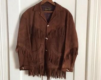 Vintage 1950's Hand Made Soft Suede Deerskin Fringe Ranch Jacket size 36 Adelina
