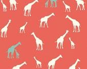1/2 Yard Organic KNIT Fabric - Birch Serengeti Knits - Giraffe Fam Coral