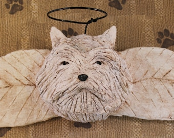Westhighland Terrier Angel, OOAK, handmade from paper mache, Westie Angel Wall Art
