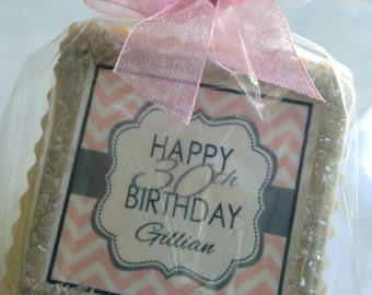 custom cookie favor blush chevron
