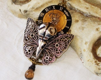 Raven Skull - Gothic Steampunk Necklace - Bird Bones - Butterfly Lunch - Bird eating Butterfly - Nature in the Raw C 7-10