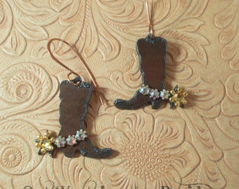 Western Rodeo Cowgirl Boot Earrings with Clear AB Swarovski Crystal Spur Straps