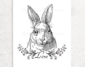 Bunny Love Printable Art, Instant Download, Nursery Art, Wall Decor, Black & White, Rabbit Illustration