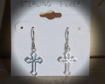 First Communion Cross Earrings Sterling Silver/Silver Confirmation Earrings/First Communion Gifts/Girl's 1st Communion Earrings Gifts