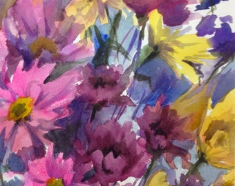 Daisy Bouquet- Floral Watercolor ORIGINAL painting by SriWatercolors - 11 x 14 in