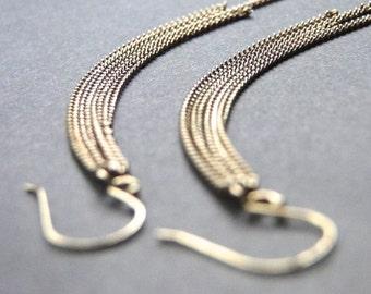 14k Gold Filled Chain Earrings, Dangle Earrings, Boho Chic Earrings, Sexy Long Chain Earrings, Accessories, 14k Gold Hoops