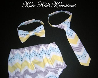 Baby Boy's Diaper Cover and Necktie or Bow Tie, Photo Prop, Chevron, Made to Order
