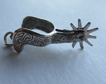 MOVABLE SPUR STERLING Silver Charm or Pendant - Cowboy - Rodeo