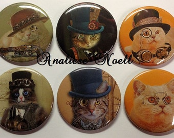 "Steampunk Cat, 2.25"", *SET 1*, Steam Punk Key Chains, Steam Punk Bottle Opener, Steam Punk Mirror, Steam Punk Magnet, Steam Punk"
