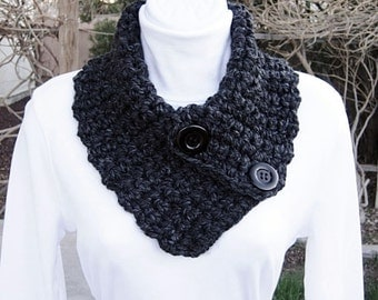 NECK WARMER SCARF Buttoned Cowl Black Dark Gray Grey Charcoal, Black Buttons, Thick Chunky Warm Winter Crochet Knit..Ready to Ship in 2 Days