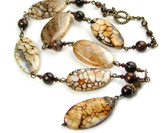 Caramel Brown Agate Gemstone Necklace Coffee Brown Stone Necklace Anique Brass Necklace Red Brown Necklace