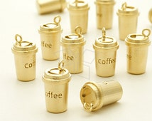 PD-935-MG / 2 Pcs - Take Out Coffee Cup Charm Pendant, Matte Gold Plated over Brass / 7.4mm x 12mm