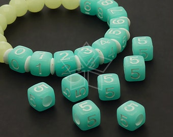 LR-058-BL / 10 Pcs - Numeric Luminous Beads, Phone Number Bead, Anniversary Date, Number Five, 5, BLUE Square / 7mm