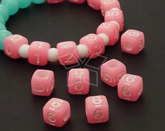 LR-069-PK / 10 Pcs - Numeric Luminous Beads, Phone Number Bead, Anniversary Date, Number Six, 6, PINK Square / 7mm