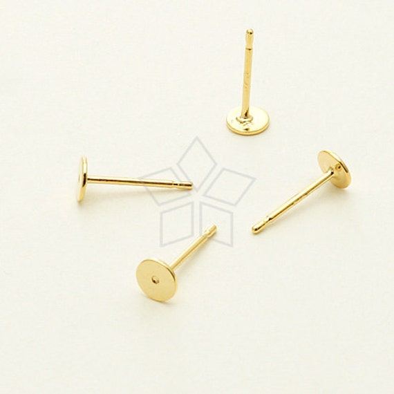 si 626 gd 10 pcs 4mm flat pad earring posts 16k gold