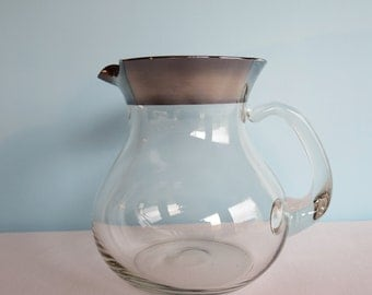 Dorothy Thorpe Silver Band Glass Pitcher - Sterling Silver Rim