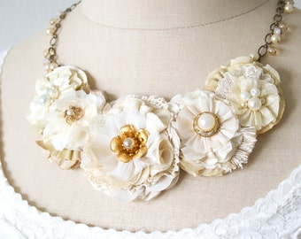Fabric Flower Statement Necklace, Bride Necklace, Floral Necklace, Ivory, Cream, Gold, Textile Jewelry, Wedding Necklace, Gift for Women