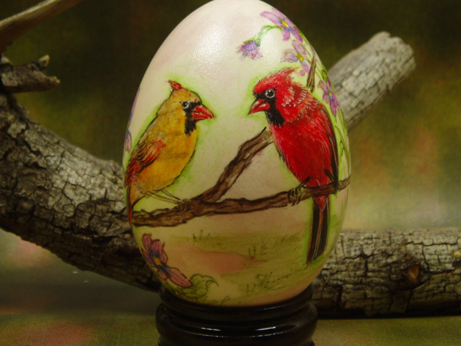 Cardinal Voilet Illinois State Bird and Flower Hand Painted