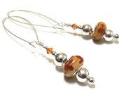 Long Dangle Earrings, Amber Lampwork Bead, Topaz Swarovski Crystal, Boho Beaded Earrings, Honey Brown, Oversized Silver Earring Wires, SRAJD