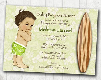 Surf Baby Shower Invitation Hawaiian Baby Shower Invitation Surfer Baby Invitation - DIY Printable