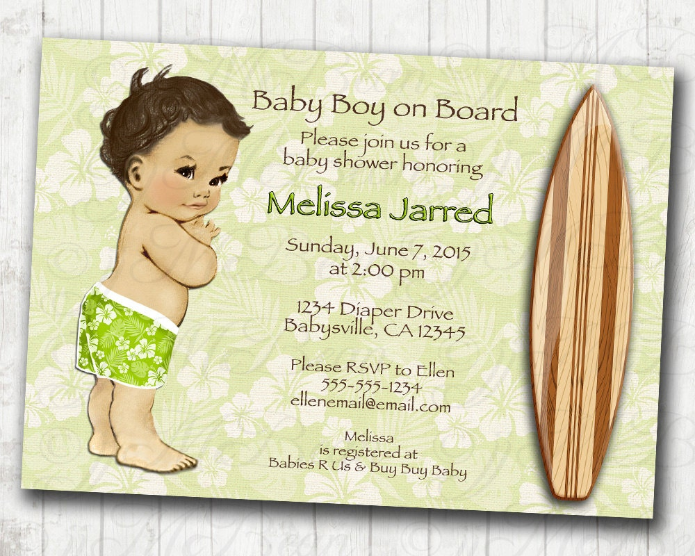 surf baby shower invitation hawaiian baby shower invitation
