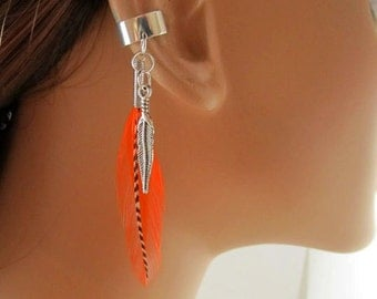 Bohemian Ear Wrap Orange and Grizzly Feathers Cartilage Earring Earcuffs