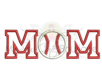 Baseball Mom Applique Embroidery Design