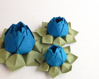 Handmade Paper Flower Trio - Origami Lotus Flowers -  cobalt blue, moss green - table decor, hostess or housewarming gift, birthday gift