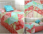 5 Piece Coral Turquoise and Yellow Toddler Bedding - Tumbling Roses Crib Design