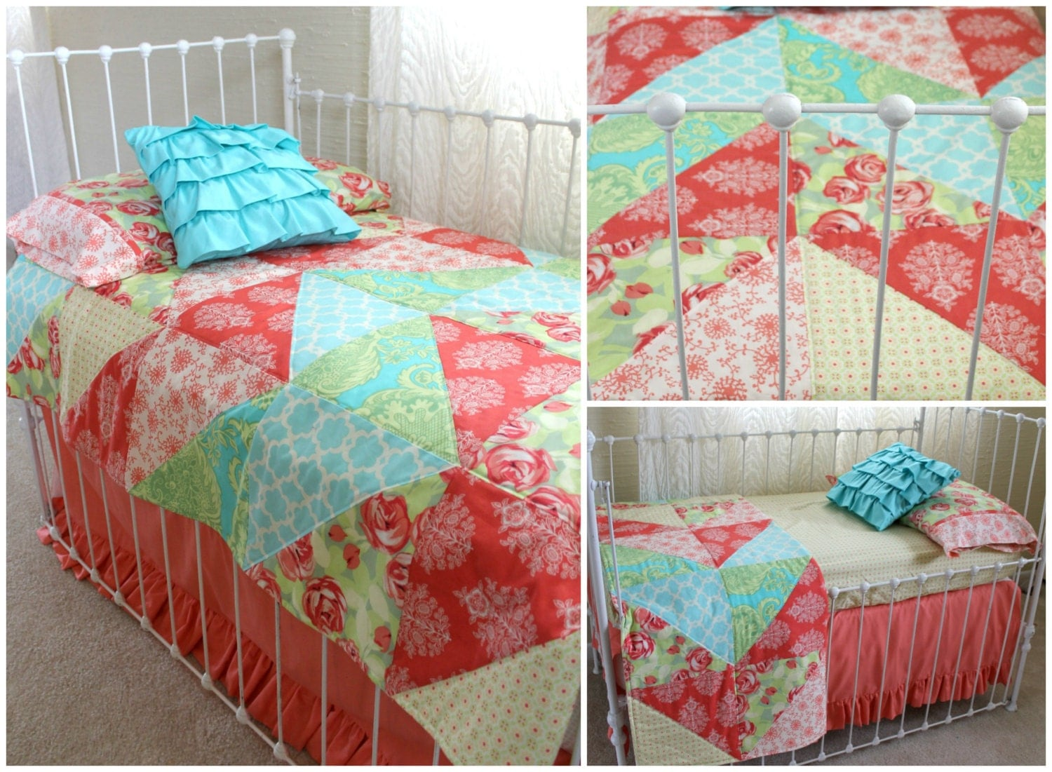 5 piece coral turquoise and yellow toddler bedding by lottiedababy. Black Bedroom Furniture Sets. Home Design Ideas