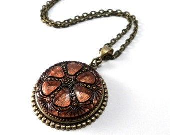 Coral Glass Mandala - Brass Deco Glass ANTIQUE BUTTON Necklace - Victorian Bohemian Steampunk Jewelry by Compass Rose Design