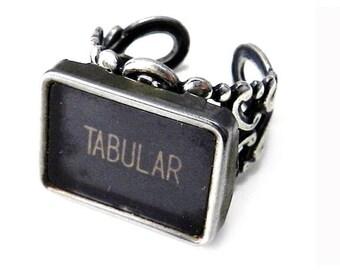Steampunk Ring Upcycled Typewriter Key TABULAR Typewriter Ring on Sturdy Adjustable Silver Filigree Band