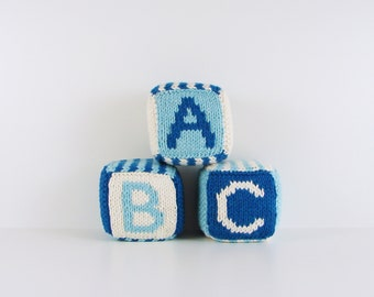 Set of Three Knitted Blocks- Blues and White
