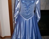 Blue Frozen Icy Anna Costume Skirt velvet vest satin blouse cape  Custom 2 4 6 8