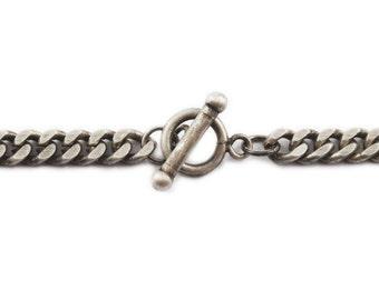 Mens Bracelet Silver Chain Oxidized Antique Finish Custom Length