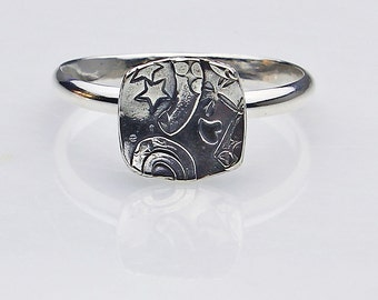 """Size 11 Ring Handcrafted Sterling Silver Square """"Collage"""" Fused Spirals Hand Stamped Stars Contemporary Artisan Jewelry Design 6073123014"""