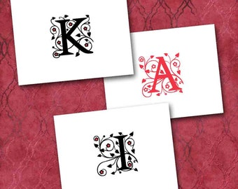 Initial Note Cards, Custom Made to Order, Black with Red Accents or Striking Scarlet, Hearts and Flowers, Personalized Stationery