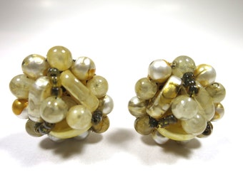 Cream Cluster Earrings  Cream Clear Brown Glass and Plastic Beads Round Clip Earrings 1950s Hong Kong 1 inch diameter Mid Century Fashion