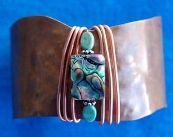 Genuine TURQUOISE ABALONE Shell Original Design COPPER Cuff Bracelet With Copper Wire.