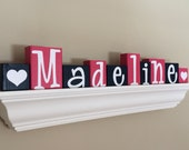 PERSONALIZED LETTER BLOCKS - Navy blue and Hot Pink Preppy Heart Name Sign for Wall Shelf - Girls Baby Nursery Decor Decoration Centerpiece