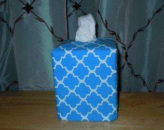 Ready To Ship - Blue Quatrefoil Fabric - Tissue Box Cover