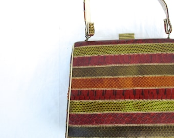 Vintage Leather Snake Skin  Bag Purse 60s Red Yellow Green Leather Jackie Purse Style Look