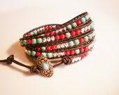 Southwest Leather Wrap Bracelet Boho Leather Wrap Red and Turquoise Bracelet
